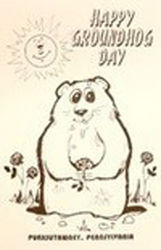 Happy Groundhog Day Coloring Poster B Sku# 389