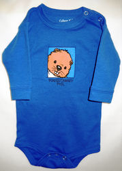 Infant Baby Phil Onesie Long Sleeved-Blue Sku# 46- newborn Sku# 47- 6 mos. Sku# 48- 12mos. Sku# 49- 18 mos