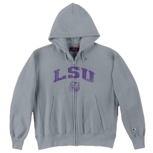 Champion Louisiana State Tigers Mens Reverse Weave Zip Up Hooded Sweatshirt Gray LSU-153 (Champion)