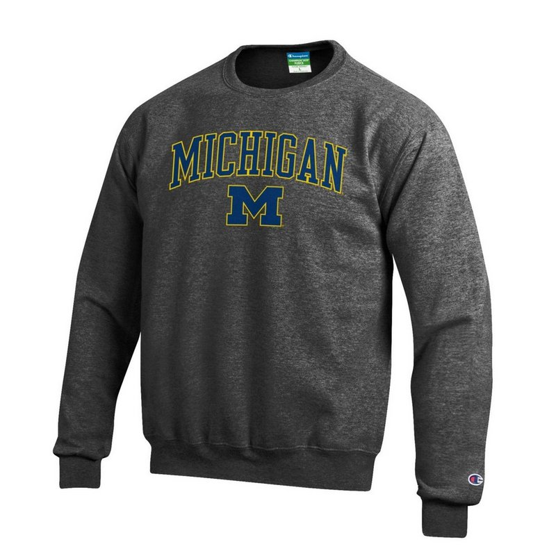 Elite Fan Shop Michigan Wolverines Crewneck Sweatshirt Charcoal APC02845656 (Elite Fan Shop)