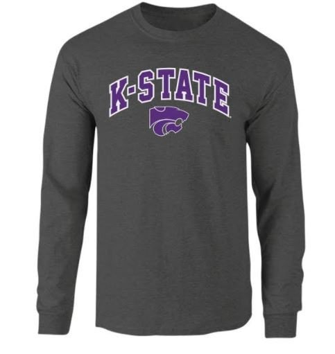Kansas State Wildcats Long Sleeve Tshirt Charcoal P0008346