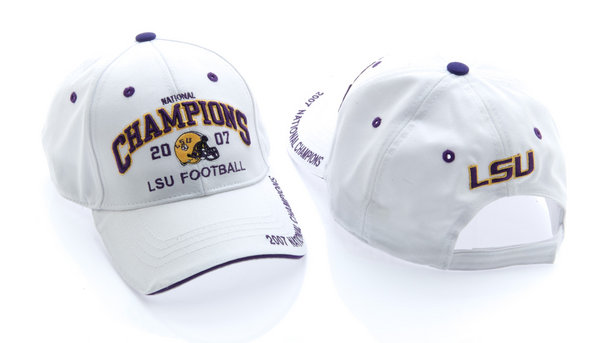 LSU Tigers Hat White 2007 National Championship with Velcro Closure LSU-057