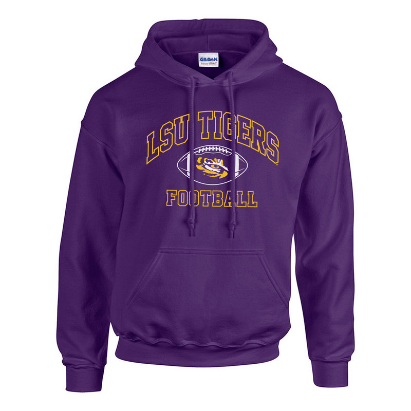 LSU Tigers Hooded Sweatshirt Football Purple #365-LSU-PUR