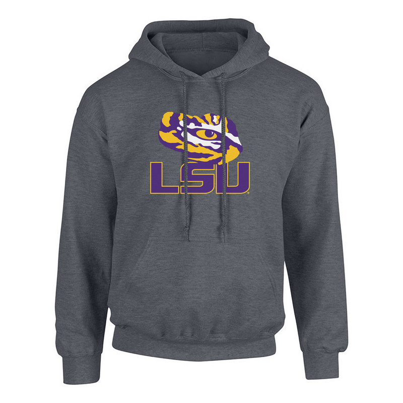 LSU Tigers Hooded Sweatshirt Icon Charcoal