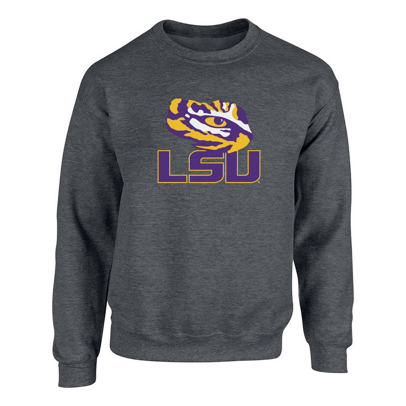 LSU Tigers Mens Crewneck Sweatshirt Icon Charcoal