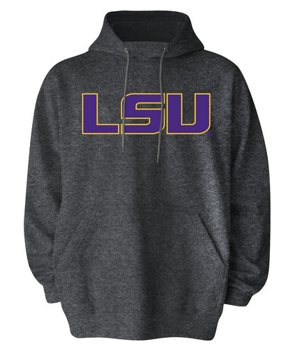 LSU Tigers Mens Hooded Sweatshirt Charcoal
