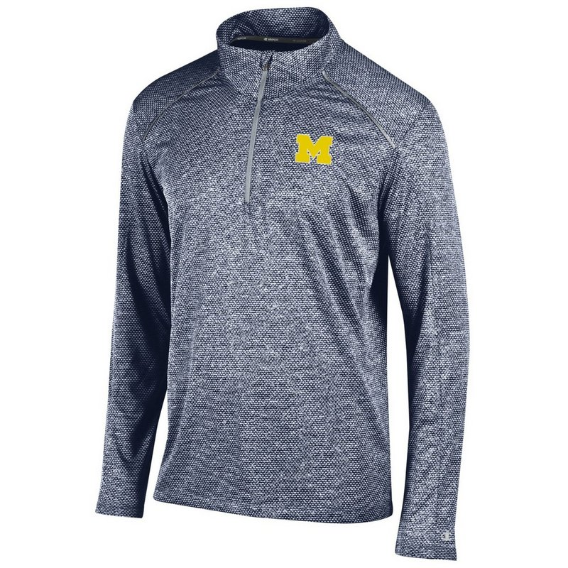 Michigan Wolverines Quarter Zip Shirt Navy APC02291557