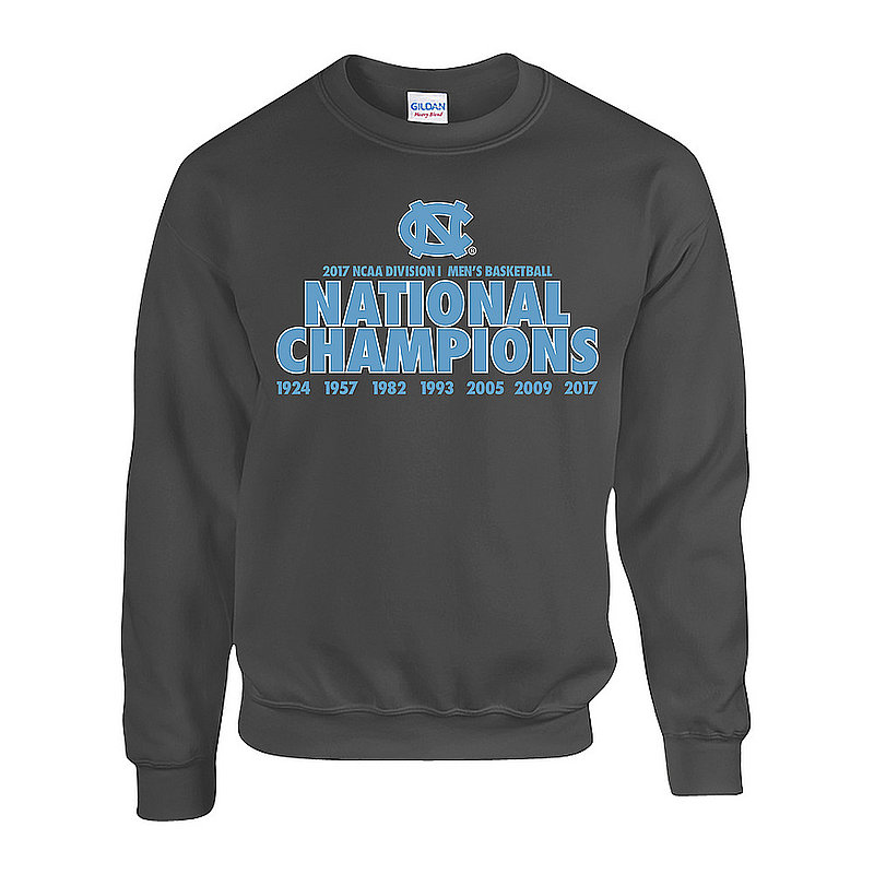 North Carolina Tar Heels 2017 National Basketball Champs Crewneck Sweatshirt Charcoal P0007634