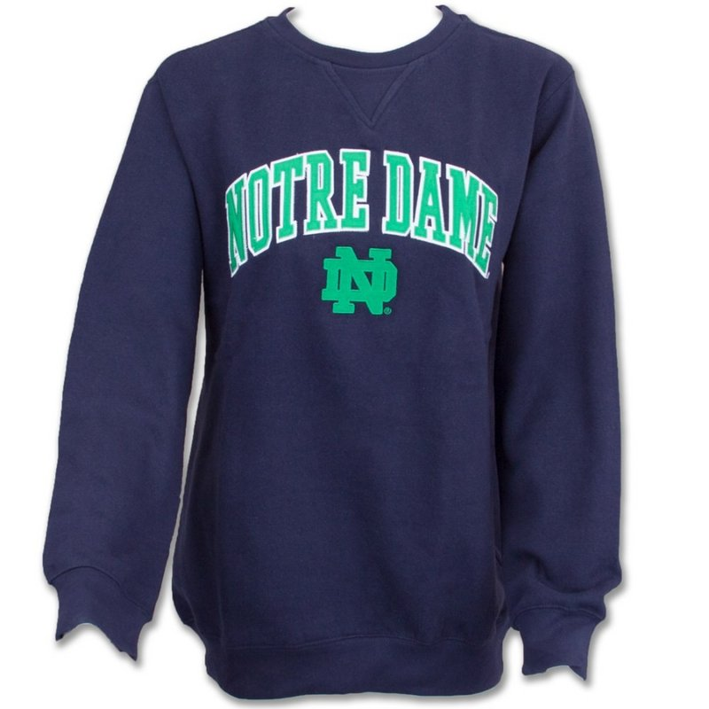 Notre Dame Fighting Irish Fleece Crew Sweatshirt Navy K F09IB 97