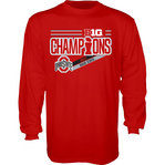 Ohio State Buckeyes Big Ten Champs Long Sleeve Tshirt 2017 Red NOT DONE B1017 FOOT LR CHP-OHS
