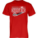 Ohio State Buckeyes Big Ten Champs Tshirt 2017 Red NOT DONE B1017 FOOT LR CHP-OHS