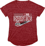 Ohio State Buckeyes Big Ten Champs Womens Tshirt 2017 Red NOT DONE JR B1017 FOOT CHP-OHS