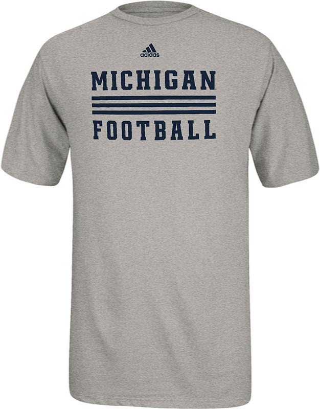 Michigan Wolverines Football T Shirt Gray Stripes