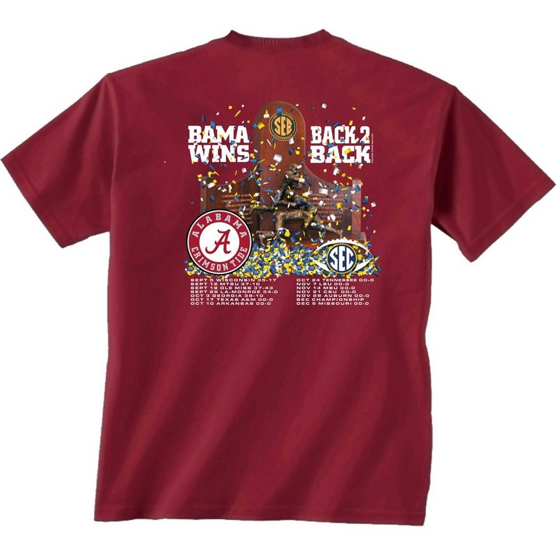 Alabama crimson tide 2015 sec champs t shirt back to back Alabama sec championship shirt