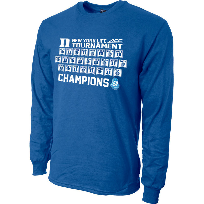 Duke Blue Devils 2017 ACC Champs Long Sleeve Tshirt Blue