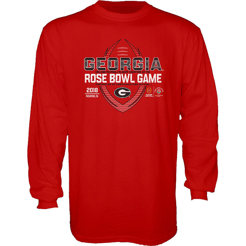 Georgia Bulldogs Rose Bowl Long Sleeve Tshirt Red Spiral