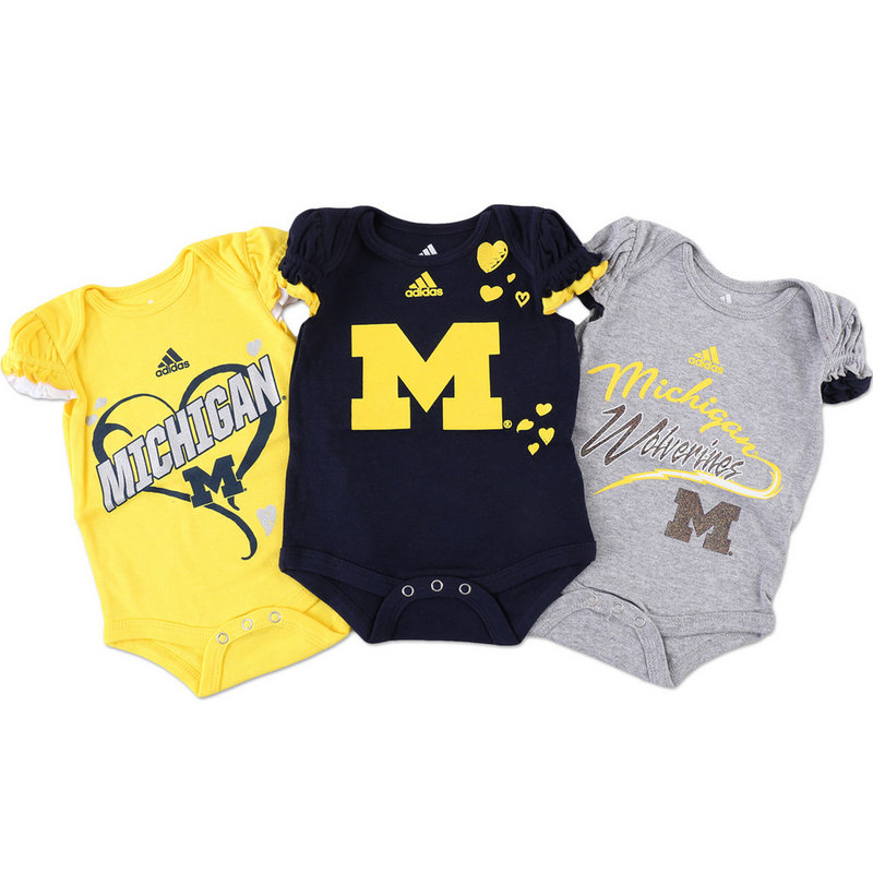 Michigan Wolverines 3 Pack Baby Clothes Set