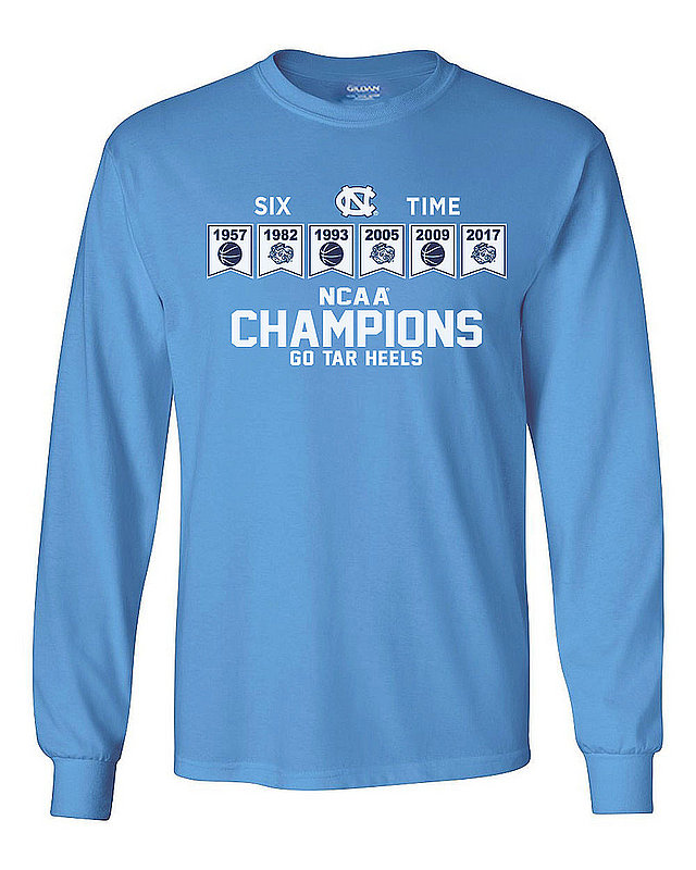North Carolina Tar Heels 2017 National Basketball Champs Long Sleeve Performance Tshirt Blue