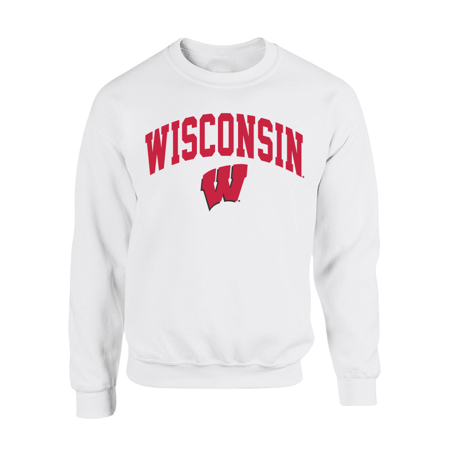Wisconsin Badgers Crewneck Sweatshirt White P0006209