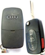 Audi OEM Audi 4D0 837 231P Switchblade Keyless Remote Entry Clicker Transmitter Control Controller Beeper Keyfob FOB w/ Transponder Chip & New Flip Key Pre-Owned 279A4 (Audi  )