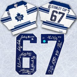 1967 Toronto Maple Leafs Team Autographed Stanley Cup Jersey LE #/67 - 11 Autographs