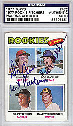 1977 Rookie Pitchers Autographed 1977 Topps Card - PSA/DNA Certified - Signed Baseball Cards