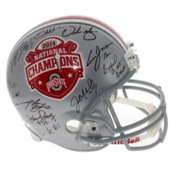 2014 Ohio State Buckeyes Signed Silver Riddell Replica Full Size Helmet - 2014 National Championship Commemorative Helmet - Certified Authentic