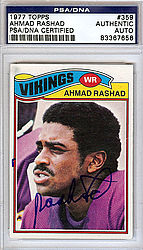 Ahmad Rashad Autographed 1977 Topps Card - PSA/DNA Certified - Signed Football Cards