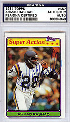 Ahmad Rashad Autographed 1981 Topps Card - PSA/DNA Certified - Signed Football Cards