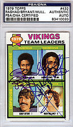 Ahmad Rashad, Bobby Bryant & Mark Mullaney Autographed 1979 Topps Card - PSA/DNA Certified - Signed Football Cards