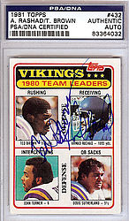 Ahmad Rashad & Ted Brown Autographed 1981 Topps Card - PSA/DNA Certified - Signed Football Cards