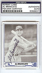 Al Brancato Autographed 1945 Play Ball Reprint Card #22 Philadelphia A's - PSA/DNA Certified - Signed Baseball Cards