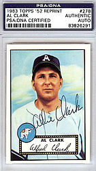 Al Clark Autographed 1952 Topps Reprint Card #278 Philadelphia A's - PSA/DNA Certified - Signed Baseball Cards