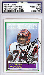Anthony Munoz Autographed 1983 Topps Card - PSA/DNA Certified - Signed Football Cards