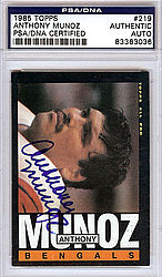 Anthony Munoz Autographed 1985 Topps Card - PSA/DNA Certified - Signed Football Cards