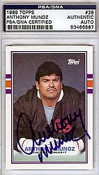 Anthony Munoz Autographed 1989 Topps Card #28 - PSA/DNA Certified - Signed Football Cards