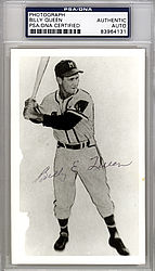 Billy Queen Autographed 3.5x5.5 Photo Milwaukee Braves - PSA/DNA Certified