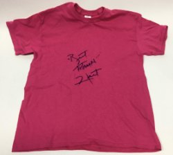 Bret Hitman Hart Autographed Pink Wrestling T-Shirt Costume - Certified Authentic Signature