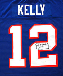 Buffalo Bills Jim Kelly Autographed Blue Mitchell & Ness Jersey Size 48 - PSA/DNA Certified