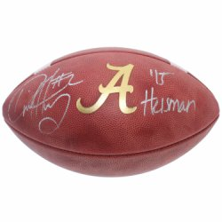 Derrick Henry Autographed Alabama Crimson Tide Wilson NCAA Leather Gold A Football - 15 Heisman Inscription - Certified Authentic