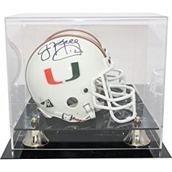 Jim Kelly Autographed Miami Hurricanes Mini Helmet In Deluxe Display Case - The U Inscription - JSA Authenticity