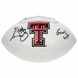 Kliff Kingsbury Autographed Texas Tech Red Raiders White Panel Football Guns Up - JSA Certified Authentic