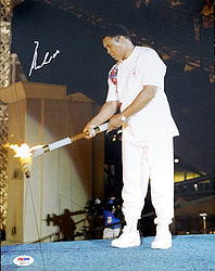 Muhammad Ali Autographed 11x14 Photo Olympic Torch - PSA/DNA Certified - Signed Autograph