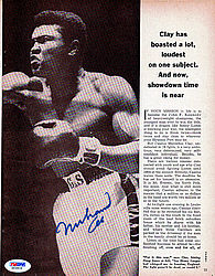 Muhammad Ali Autographed 8.5x11 Magazine Page Photo Vintage - PSA/DNA Certified