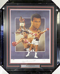 Muhammad Ali Autographed Framed 18x24 Lithograph Photograph Auto Grade 10 - PSA/DNA Certified