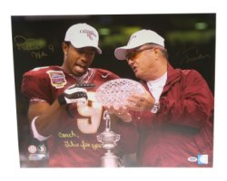 Peter Warrick & Bobby Bowden Autographed 16x20 Photo Florida State Seminoles Coach This is For You - PSA/DNA Certified