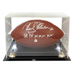 Rocky Bleier Autographed NFL Super Grip Football with 'SB IX X XIII XIV' Inscription - In Display Case - PSA/DNA Certified Authentic