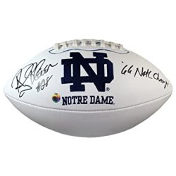 Rocky Bleier Autographed Notre Dame Fighting Irish Logo White Panel Football with 66 Natl Champs Inscription - PSA/DNA Certified Authentic