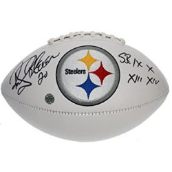 Rocky Bleier Autographed Pittsburgh Steelers Embroidered Logo Football - Super Bowl Wins Inscription - Certified Authentic