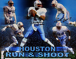 Signed Houston Oilers Run & Shoot Autographed 16x20 Photo HOF 06 With 5 Signatures Including Warren Moon Player Holo Stock #83651 - Signed NFL Football Photos